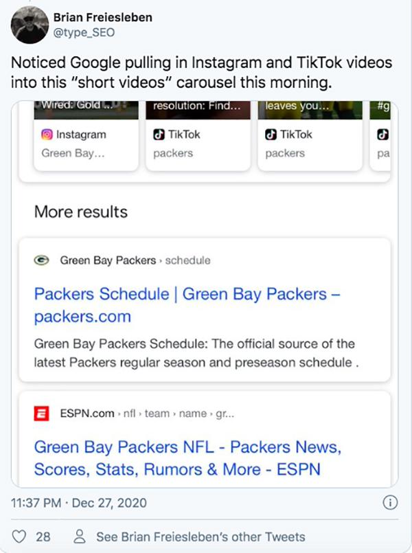 TikTok và Instagram sẽ hiển thị trên kết quả tìm kiếm Google?